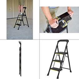 Gorilla Ladders 3 Step Stool Ladder Folding Pro Grade Steel