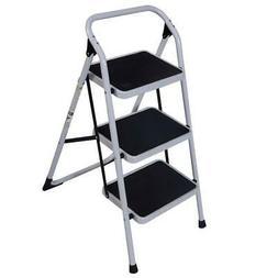 3 Steps Ladder Folding Handrails Grip Iron Step Stool Heavy