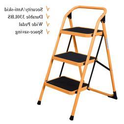 3 Steps Ladder Folding Non Slip Safety Tread Industrial Home