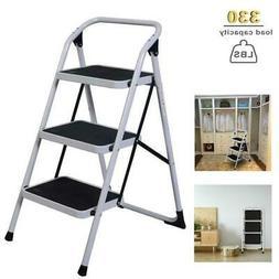 3 Steps Ladder Folding Non Slip Safety Tread Heavy Duty Indu