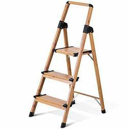 3 Stepstools Folding Ladders Woodgrain Alumium Rubber Anti-S