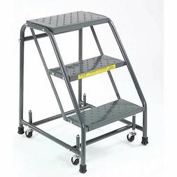 """Ballymore 318P Perforated 16""""W 3 Step Steel Rolling Ladder 1"""