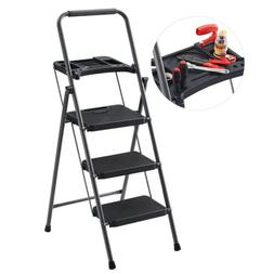 Finether 48.8'' Steel Folding 3-Step Ladder Heavy Duty T