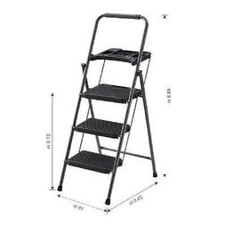 3Step foldable Ladder Portable Steel Heavy Duty non-slip tre