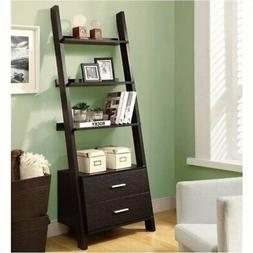 Bowery Hill 4 Shelf Ladder Bookcase with 2 Drawers in Cappuc
