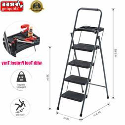 4 Step 331lbs Portable Folding Ladder Non Slip Safety Stepla