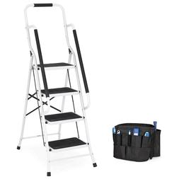 4 Step Ladder Folding Portable Anti Slip W Hand Rail Tool Ba