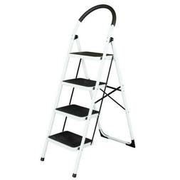 4 Step Ladder Folding Steel Step Stool Anti-slip  330Lbs Cap