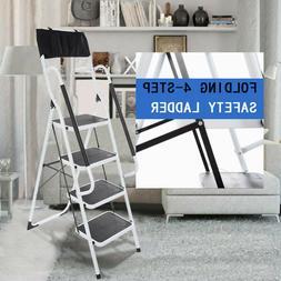 4 Step Ladder Folding Steel Step Stool Anti-slip Capacity  S
