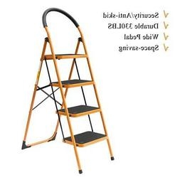 4 Step Ladder Folding Steel Work Platform Stool Heavy Duty S