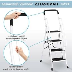 4 Step Ladder Folding Step Stool with Handrails for Home&Gar