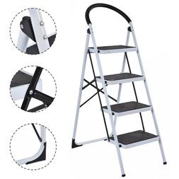 4 Step Ladder Folding Stool Heavy Duty Large Platform 330Lbs