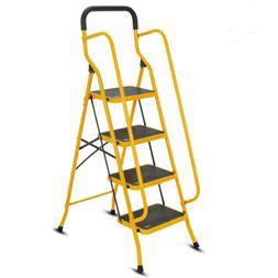 4 Step Ladder Protable Folding Non Slip Safety Tread Heavy D