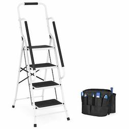 4 Step Ladder With Safety Rails Non Slip Folding Steel Heavy