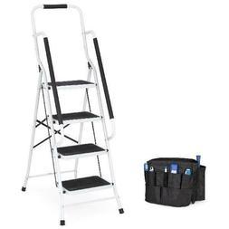 4-Step Portable Folding Anti-Slip Steel Safety Ladder w/ too