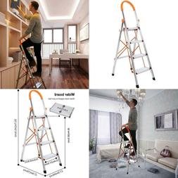 4-Step Stool Ladder Portable Folding Anti-Slip With Rubber H