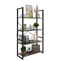 Lifewit 4-Tier Bookshelf, Wood and Metal Bookcase, Free Stan