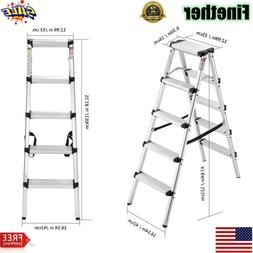 5 Step Ladder Folding Steel Anti-Slip Double Sided Heavy Dut