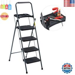 Finether 59.6'' Heavy Duty Steel Folding 4-Step Ladder W