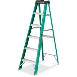 592 Six-Foot Folding Fiberglass Step Ladder, Green/Black