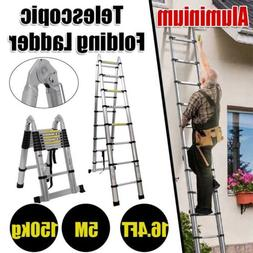 5M 16.4ft Aluminum Telescopic Ladder Folding Extension Build
