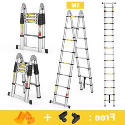 16 5ft telescoping extension ladder aluminium multi