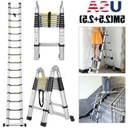 5M Multi-Purpose Aluminum Telescoping Ladder A-Frame Extensi