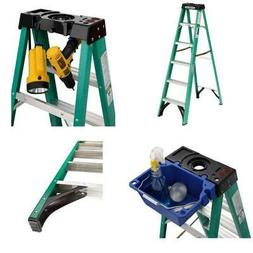 6 ft fiberglass step ladder with 225