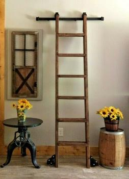 7 FT wood-Library/Loft Ladder PLUS LIBRARY KIT-Side Floor Wh