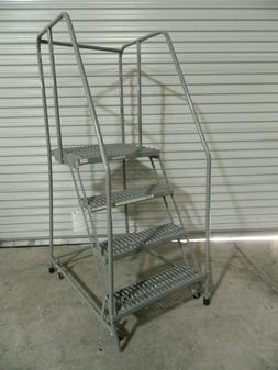 "Cotterman 70"" 4 Step Rolling Warehouse Safety Ladder D046009"