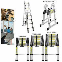 8.5-16.5FT Multi Purpose Aluminum Telescopic Ladder Heavy Fo