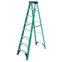 Werner 8 ft Fiberglass Step Ladder Folding 225 lb Load Capac