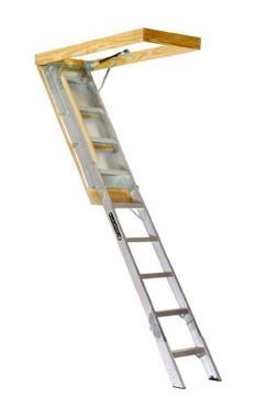 aa259gs elite aluminum attic ladder 350 pound capacity 25.5-
