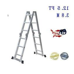 Aluminum Ladder Folding 12.5FT Step Scaffold Extendable Heav