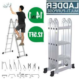 Aluminum Ladder Folding 12.5FT Step Scaffold Extendable Heav