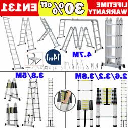 Aluminum Ladder Folding Step Ladder Scaffold Extendable Mult