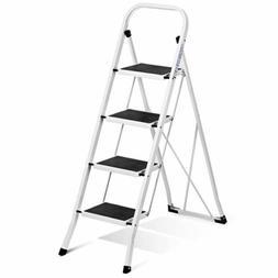 Delxo Folding 4 Step Ladder Ladder with Convenient Handgrip