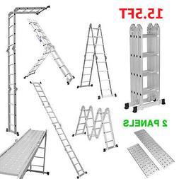 Aluminum Multi Purpose Ladder 15.5FT Extension Folding Teles