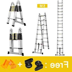 Finether 16.4ft Aluminum Telescoping Extension Ladder Portab