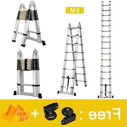 Finether 16.4ft Aluminum Telescoping Extension Ladder Portab