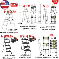 Finether Aluminum Telescoping Ladder Heavy Duty Steel Foldin
