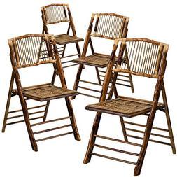Flash Furniture 4 Pk. American Champion Bamboo Folding Chair