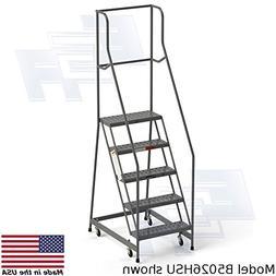 FULLY ASSEMBLED 5-step Steel Industrial Rolling Ladder, EGA