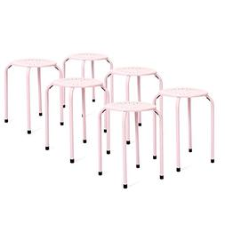 Best Choice Products 6-Pack Backless Round Top Metal Stools