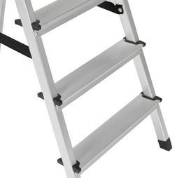BCP 300lb 5-Step Foldable Aluminum Ladder- Silver