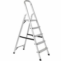 BCP 300lb 5-Step Foldable Aluminum Ladder- Silver