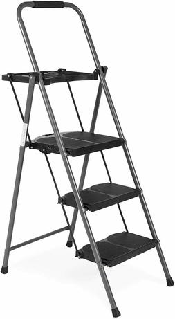 Best Choice Folding Steel 3-Step Stool Ladder Tool Equipment