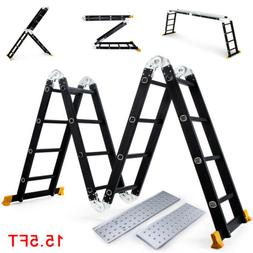 Black 15.5FT Aluminum Multipurpose Ladder Telescoping Foldin
