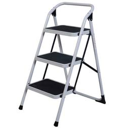 Black & White Home Use 3-Step Short Handrail Iron Ladder Wor
