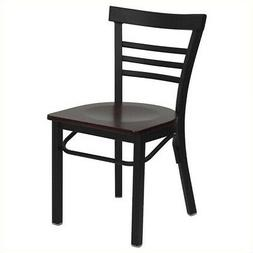 Bowery Hill Black Ladder Back Dining Chair in Mahogany
